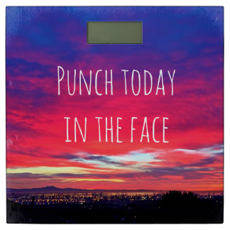 Punch quote hot pink sunrise photo bathroom scale