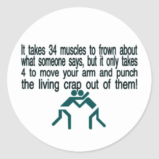 Punch The Crap Out Of Them Classic Round Sticker