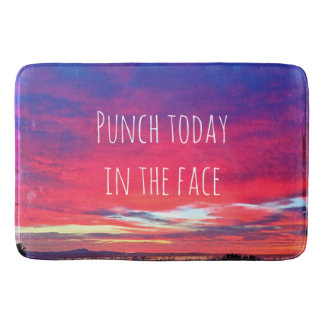 """Punch Today"" Quote Hot Pink & Blue Sunrise Photo Bathroom Mat"