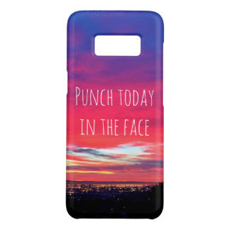 """Punch Today"" Quote Hot Pink & Blue Sunrise Photo Case-Mate Samsung Galaxy S8 Case"