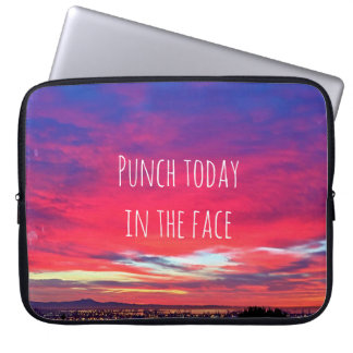 """Punch Today"" Quote Hot Pink & Blue Sunrise Photo Computer Sleeve"