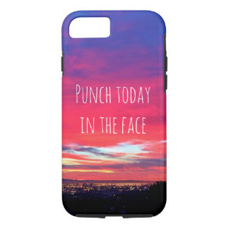 """Punch Today"" Quote Hot Pink & Blue Sunrise Photo iPhone 8/7 Case"