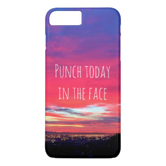 """Punch Today"" Quote Hot Pink & Blue Sunrise Photo iPhone 8 Plus/7 Plus Case"