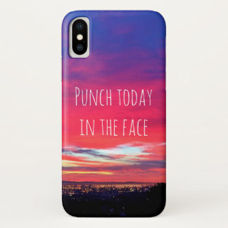 """Punch Today"" Quote Hot Pink & Blue Sunrise Photo iPhone X Case"