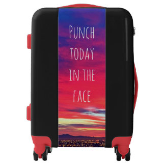 """Punch Today"" Quote Hot Pink & Blue Sunrise Photo Luggage"