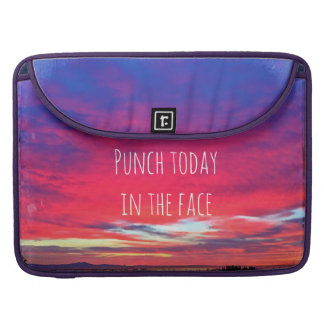 """Punch Today"" Quote Hot Pink & Blue Sunrise Photo MacBook Pro Sleeve"