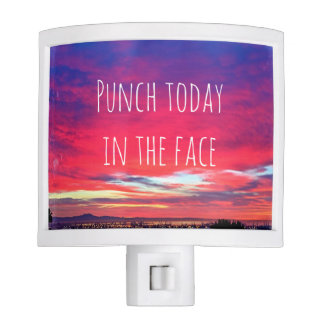 """Punch Today"" Quote Hot Pink & Blue Sunrise Photo Night Light"