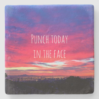 """Punch Today"" Quote Hot Pink & Blue Sunrise Photo Stone Coaster"