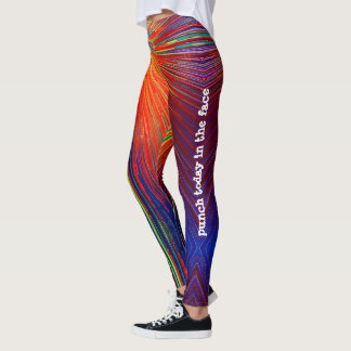 """Punch Today"" Quote Red Blue Yellow Abstract Photo Leggings"