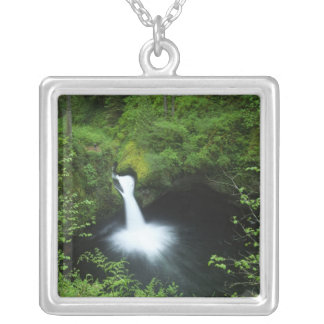 Punchbowl Falls on Eagle Creek, Columbia River Silver Plated Necklace