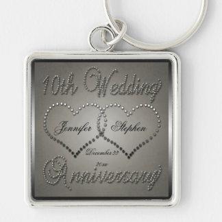 anniversary keychains, anniversary key chains Wedding Anniversary Keychain punched tin 10 year anniversary keychain wedding anniversary keychain