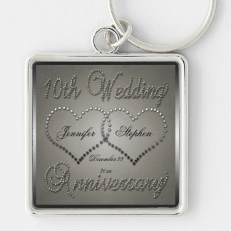 Punched Tin 10 Year Anniversary Silver-Colored Square Keychain