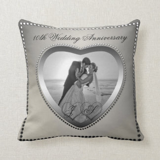 Punched Tin Look 10 Year Anniversary Monogram Pillow