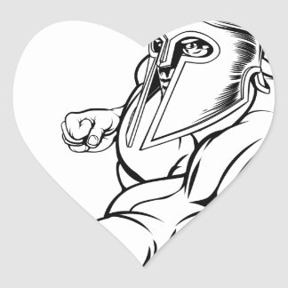 Punching gladiator mascot heart sticker