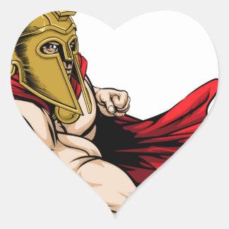 Punching spartan mascot heart sticker