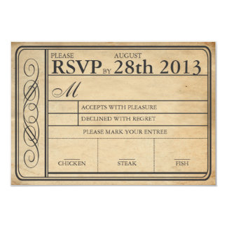 """Punchout de RSVP II del boleto del boda del Invitación 3.5"""" X 5"""""""