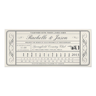 Punchout del boleto II del boda del vintage de oro Invitación 10,1 X 23,5 Cm
