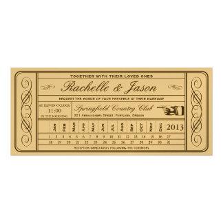 Punchout del boleto II del boda del vintage de oro Comunicados