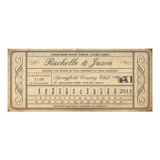 Punchout del boleto II del boda del vintage Anuncios