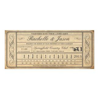 """Punchout del boleto II del boda del vintage Invitación 4"""" X 9.25"""""""