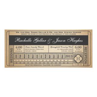 Punchout del boleto III del boda del vintage Invitaciones Personalizada