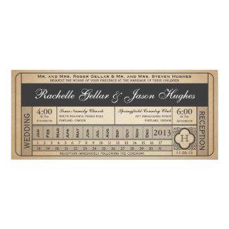 Punchout del boleto III del boda del vintage Invitación 10,1 X 23,5 Cm