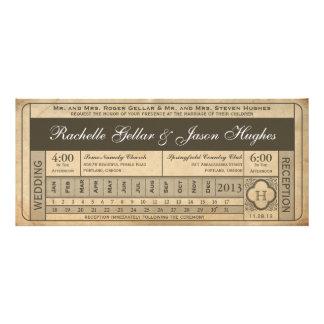 Punchout del boleto III del boda del vintage Comunicado Personalizado