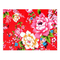 Punchy floral pattern postcard