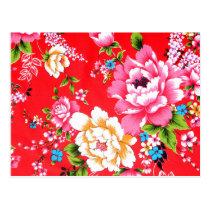 Punchy floral pattern postcard
