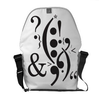 Punctuation Art Medium Messenger Bag Outside Print