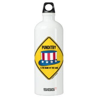 Punditry Is The Name Of The Game Warning Sign Aluminum Water Bottle