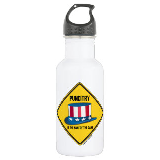 Punditry Is The Name Of The Game Warning Sign Water Bottle