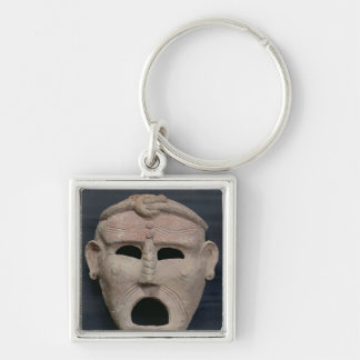 Punic charm mask, 3rd-2nd century BC Silver-Colored Square Keychain