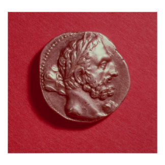 Punic coin bearing the head of Hamilcar Barca Poster