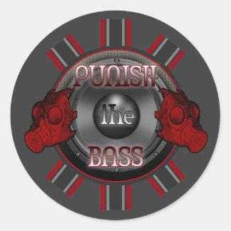 PUNISH the BASS DnB Dub Dubstep hardstyle DJ Classic Round Sticker