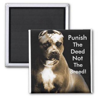 Punish the deed, not the breed 2 inch square magnet
