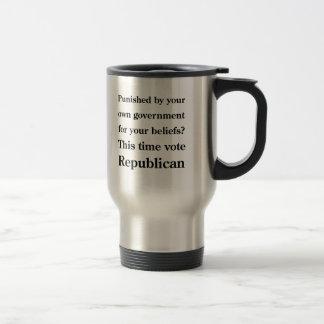 Punished black text coffee mugs
