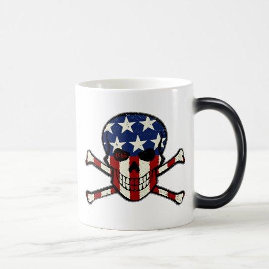 Punisher Skull Americana Flag Graphic Magic Mug