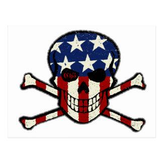 Punisher Skull Americana Flag Graphic Postcard