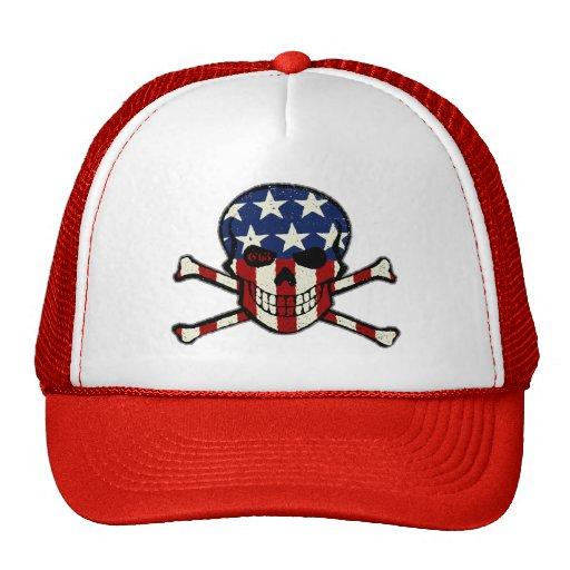 Punisher Skull Americana Flag Graphic Trucker Hat