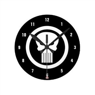 Punisher Skull Icon Round Clock