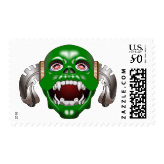 Punk Alien Green Horror Monster Demon Mask Stamp