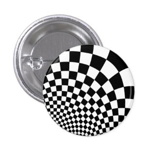 Punk black and white abstract checkerboard 1 inch round button