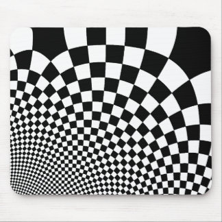 Punk black and white abstract checkerboard mouse pad