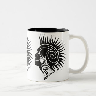 PUNK (BLACK AND WHITE MOHAWK) Two-Tone COFFEE MUG
