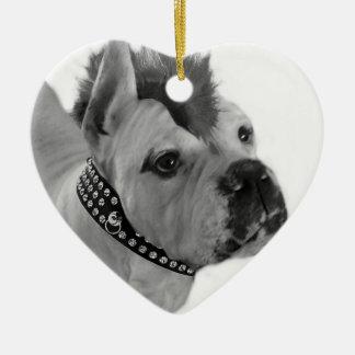 Punk Boxer dog heart ornament