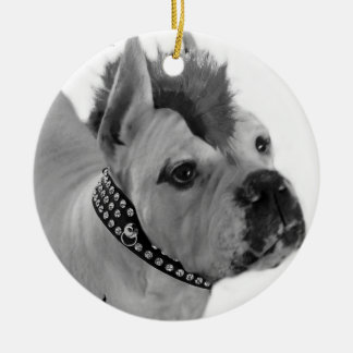 Punk Boxer dog ornament