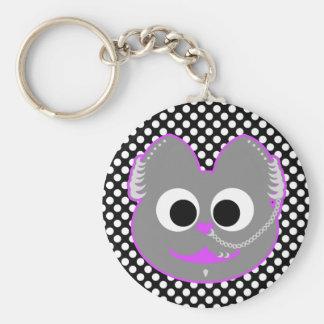 Punk Boy Kat Purple - Gray Keychain