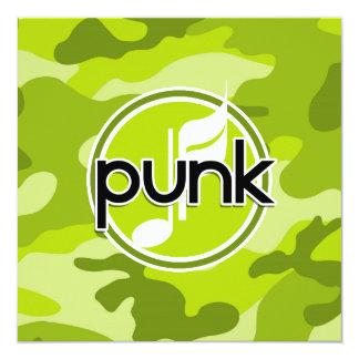 Punk; bright green camo, camouflage 5.25x5.25 square paper invitation card