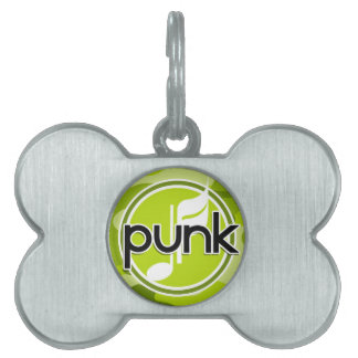 Punk; bright green camo, camouflage pet ID tag
